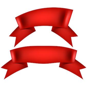 Realistyczna czerwona wstążka ozdobna.