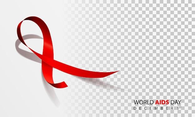Realistyczna czerwona wstążka, symbol światowego dnia pomocy, 1 grudnia, ilustracji wektorowych