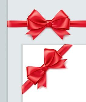 Realistyczna czerwona wstążka z kokardą na widoku z góry puste papierowe lub pudełko prezentowe, na białym tle na szarym tle