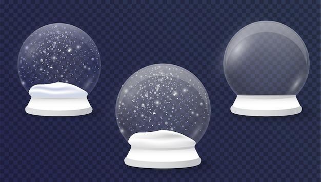 Realistyczna dekoracja świąteczna świąteczna kula śnieżna zima w szklanej kryształowej kopule z płatkiem śniegu