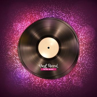 Realistyczna długogrająca płyta winylowa lp. płyta winylowa gramofonowa w stylu vintage, ciemne fioletowe tło z dyskotekowymi światłami.