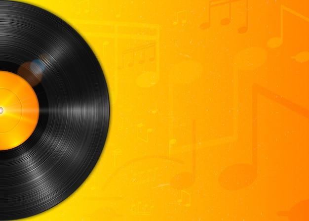 Realistyczna długogrająca płyta winylowa lp z żółtą etykietą. vintage gramofon winylowy, tło z notatkami.