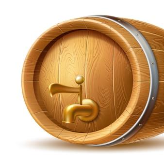 Realistyczna drewniana beczka lub beczka z kranem