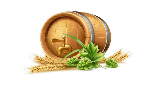 Realistyczna drewniana beczka vecot, dębowa beczka, zielone kłosy chmielu i pszenicy do projektowania browaru