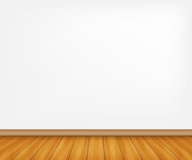 Realistyczna drewniana podłoga i biała ściana.