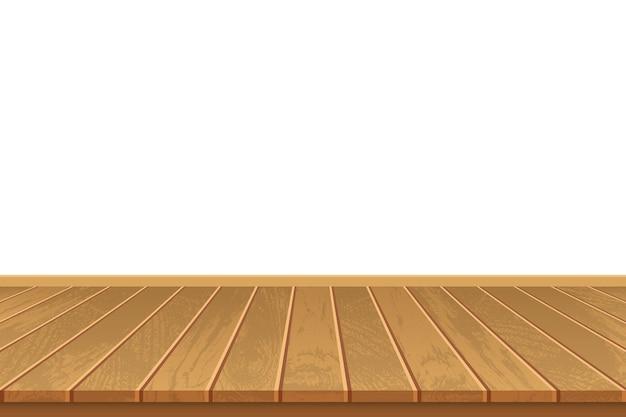 Realistyczna drewniana podłoga na białym tle