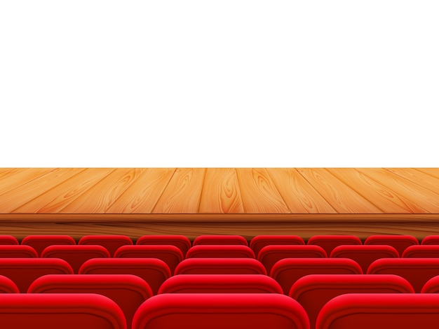 Realistyczna drewniana scena teatralna lub podłoga z rzędami czerwonych siedzeń, widok z tyłu. puste miejsca w sali kinowej, kinie, teatrze, operze, imprezach, widowiskach. element wewnętrzny. realistyczna ilustracja 3d.