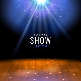 Realistyczna drewniana scena teatralna lub podłoga z świątecznym szablonem reflektorów ze światłami i sceną. projekt plakatu na koncert, teatr, imprezę, taniec, wydarzenie, pokaz. dekoracja iluminacji i dekoracji