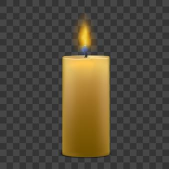 Realistyczna duża świeca parafinowa z płomieniem ognia na przezroczystym.
