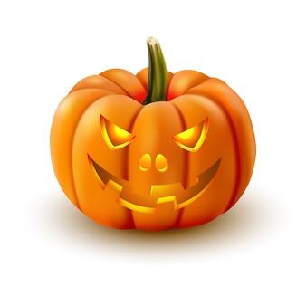 Realistyczna dynia halloween ze świecącymi oczami na białym tle