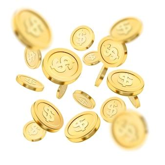Realistyczna eksplozja złotej monety lub plusk na białym tle. deszcz złotych monet. spadające pieniądze. jackpot bingo lub poker w kasynie lub element wygranej. koncepcja sukcesu skarb gotówki. ilustracja 3d.