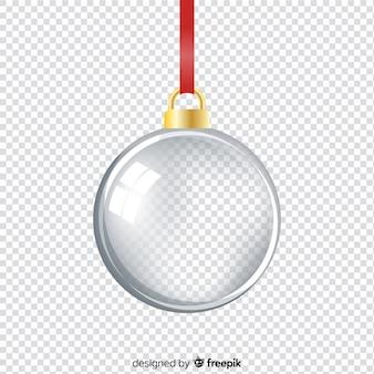 Realistyczna elegancka i półprzezroczysta piłka świąteczna
