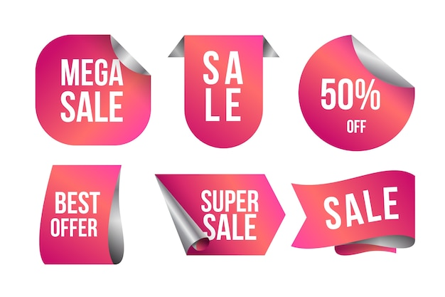 Realistyczna etykieta sprzedaży w kolekcji różowych odcieni