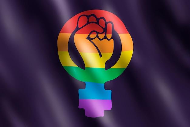 Realistyczna feministyczna ilustracja flagi lgbt