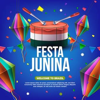 Realistyczna festa junina wydarzenia ilustracja