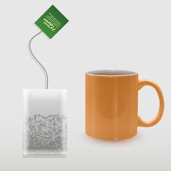 Realistyczna filiżanka herbaty i torebka w kształcie