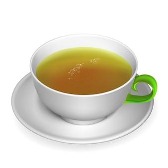 Realistyczna filiżanka herbaty. ilustracja zawiera siatkę gradientu.