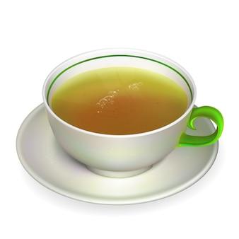 Realistyczna filiżanka herbaty ilustracja zawiera siatkę gradientu.