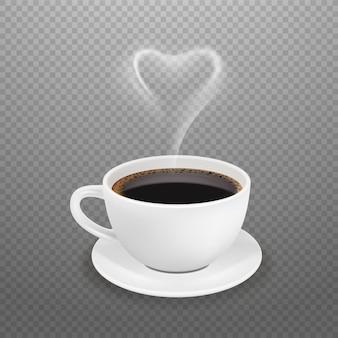 Realistyczna filiżanka kawy. gorące serce pary, biały kubek espresso americano. poranny napój dla ilustracji wektorowych energii. filiżanka napoju kawowego, czarny napój o aromacie