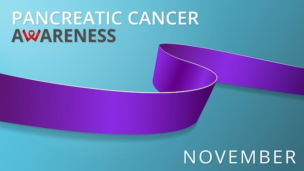 Realistyczna fioletowa wstążka. plakat miesiąca świadomości raka trzustki. ilustracja wektorowa. koncepcja solidarności światowego dnia raka trzustki. symbol zapalenia trzustki, sarkoidozy, tocznia, mukowiscydozy.