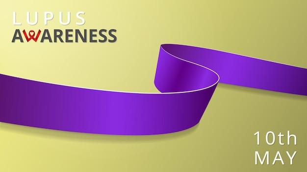 Realistyczna fioletowa wstążka. plakat miesiąca tocznia świadomości. ilustracja wektorowa. koncepcja solidarności światowego dnia raka trzustki. symbol zapalenia trzustki, sarkoidozy, tocznia, mukowiscydozy.