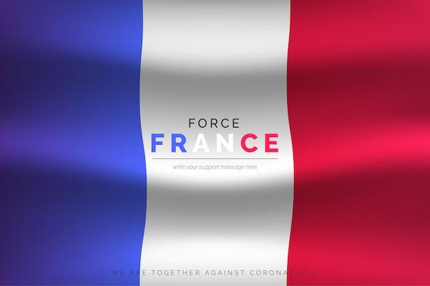 Realistyczna flaga francji z komunikatem wsparcia