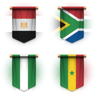 Realistyczna flaga proporczyka z egiptu, afryki południowej, nigerii i senegalu