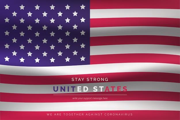 Realistyczna flaga stanów zjednoczonych z komunikatem wsparcia