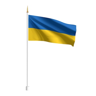Realistyczna flaga ukrainy. macha flagą tekstylną. szablon dla produktów. ilustracja
