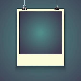 Realistyczna fotografii rama z cieniem, pusty pusty fotografii migawka