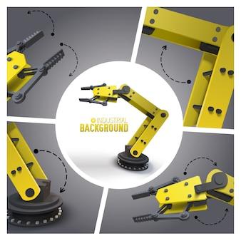 Realistyczna futurystyczna kompozycja przemysłowa z żółtymi mechanicznymi przemysłowymi ramionami robotów i manipulatorami