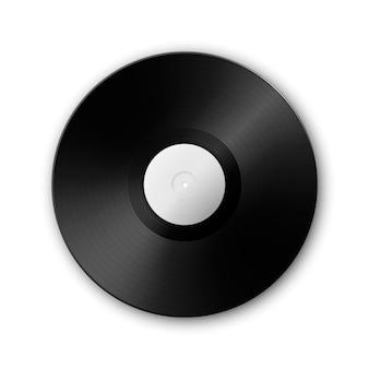 Realistyczna gramofonowa płyta winylowa lp z muzyką na białym ç