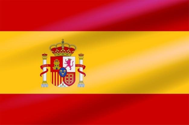 Realistyczna hiszpańska flaga rozwijająca się na wietrze z herbem z koronami, lwem i zamkiem na tle tarczy. emblemat płaski wektor