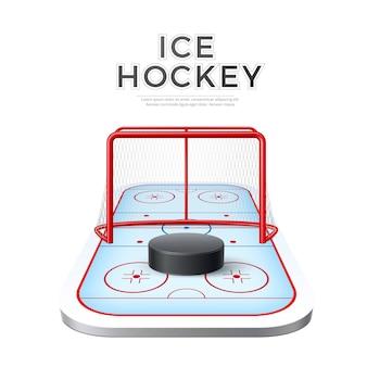 Realistyczna hokejowa hokejowa arena z bramką i krążkiem