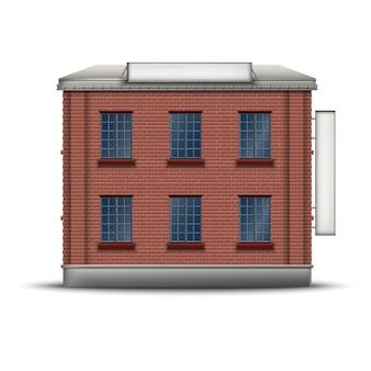 Realistyczna ikona budynku z czerwonej cegły z bocznym i górnym sztandarem na dachu.