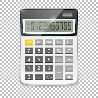 Realistyczna ikona kalkulatora na przezroczystym tle, szablon w.