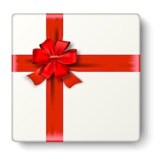 Realistyczna ikona prezentu z czerwoną wstążką i kokardą