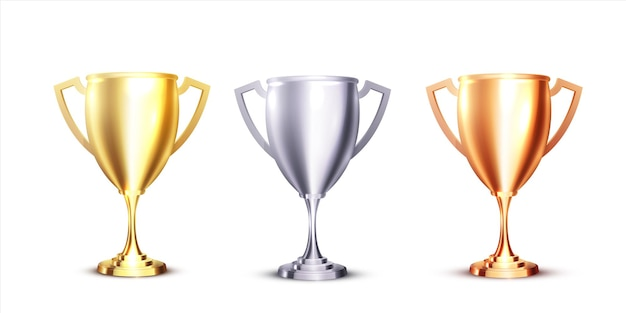 Realistyczna ikona z trofeum złota, srebra i brązu na białym tle. realistyczny projekt 3d. trofeum mistrzowskie. zestaw nagród sportowych.