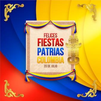 Realistyczna ilustracja 20 de julio - independencia de colombia