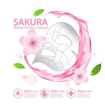 Realistyczna ilustracja arkusz maski na twarz ze składnikami kosmetyku do pielęgnacji skóry cherry blossoms
