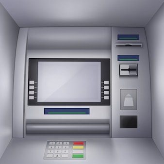 Realistyczna ilustracja bankomatu z pustym interfejsem, klawiaturą, miejscem na kartę kredytową i walutę.
