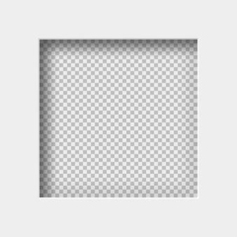 Realistyczna ilustracja białego papieru z cieniem, kwadratowy otwór na przezroczystym tle z ramką na tekst lub zdjęcie.