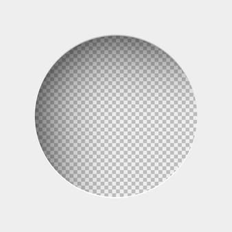 Realistyczna ilustracja białego papieru z cieniem, okrągły otwór na przezroczystym tle z ramką na tekst lub zdjęcie.