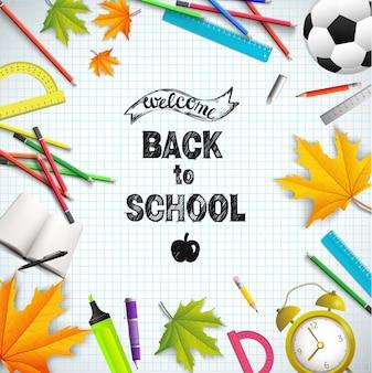 Realistyczna ilustracja czasu szkolnego z linijkami kolorowe ołówki piłka nożna liście klonu kątomierz ugryziony budzik jabłko książka marker na arkuszu papieru