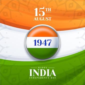 Realistyczna ilustracja dzień niepodległości indii