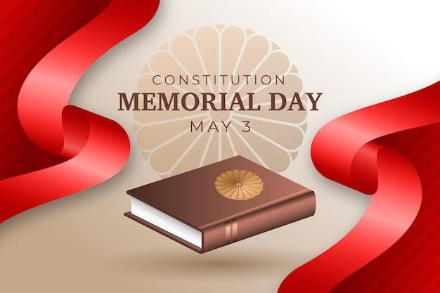 Realistyczna ilustracja dzień pamięci konstytucji japońskiej