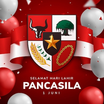 Realistyczna ilustracja dzień pancasila
