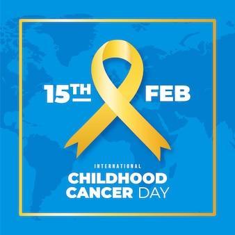Realistyczna ilustracja dzień raka dzieciństwa ze wstążką