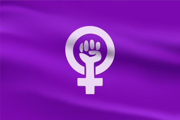 Realistyczna Ilustracja Flagi Feministycznej Darmowych Wektorów