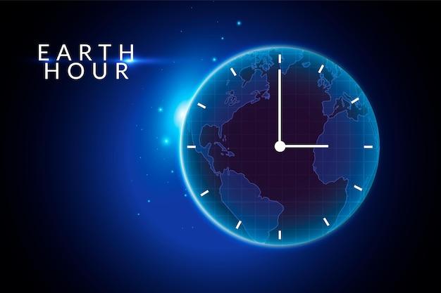 Realistyczna ilustracja godziny ziemskiej z planetą i zegarem